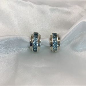 Vtg Blue Topaz Sterling Silver Hoop Earrings